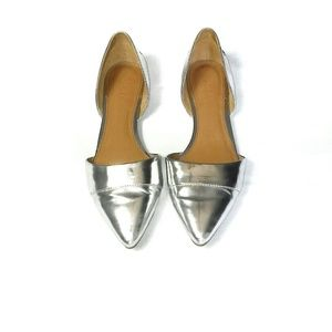 J.Crew Silver Pointed Toe Flats 7 1/2